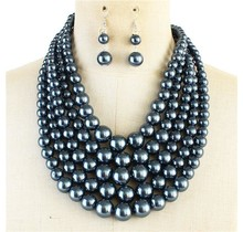 Always Busy Pearl Necklace Set - Grey