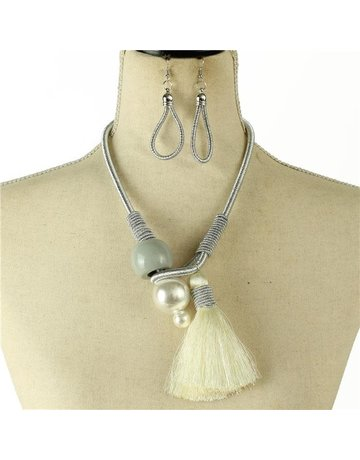 What A Pearl Necklace Set - Silver
