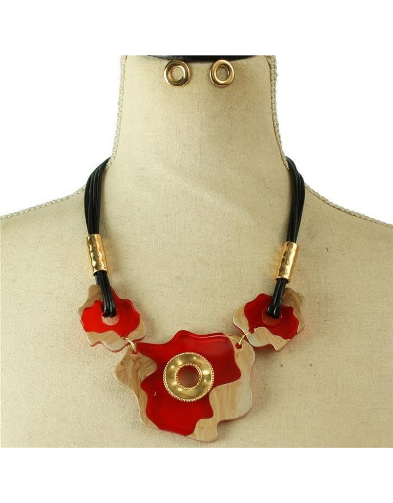 Something Unique Necklace Set - Red