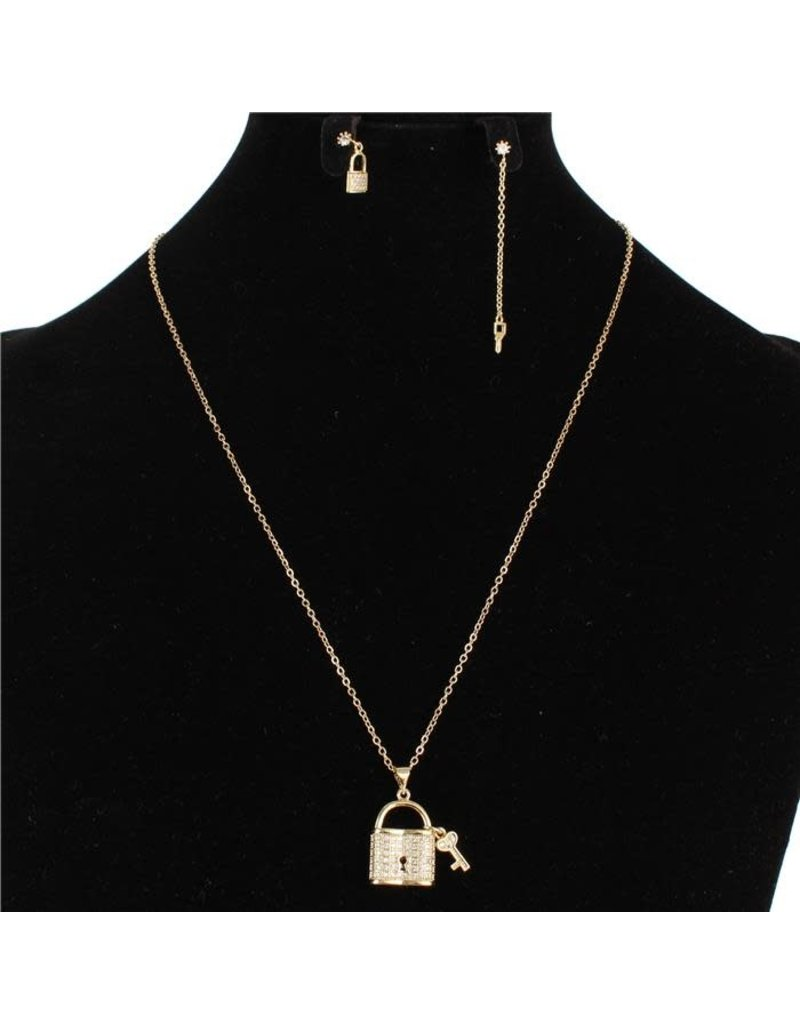 Under Lock & Key Stainless Steel Necklace Set - Gold