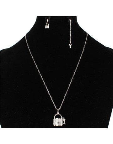Under Lock & Key Stainless Steel Necklace Set - Silver