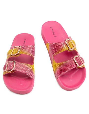 Bliss Rhinestone Slides - Pink