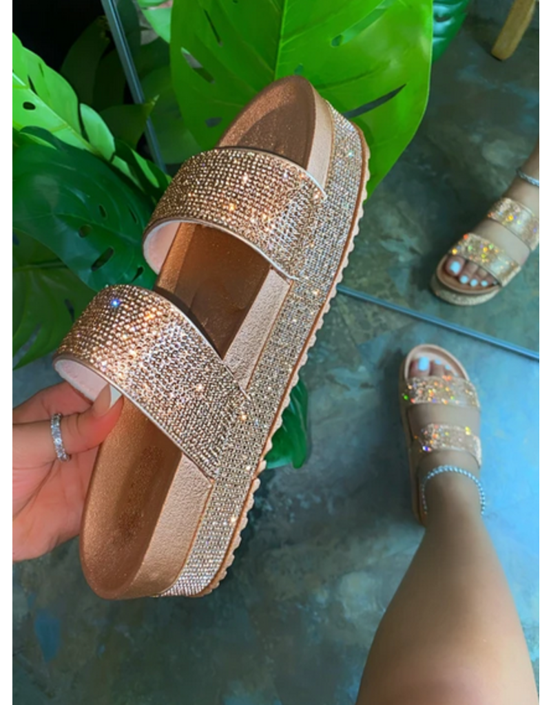 Enchanted Rhinestone Flatform - Rose Gold