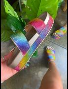 Enchanted Rhinestone Flatform - Rainbow