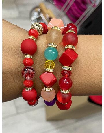 Red Pop Bracelet Stack