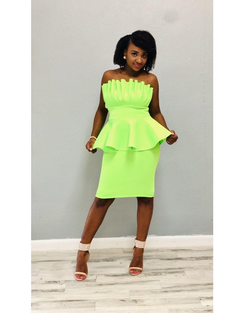 Flaming Hot Neon Ruffle Dress