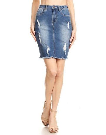 Ripped To Shreds Denim Skirt