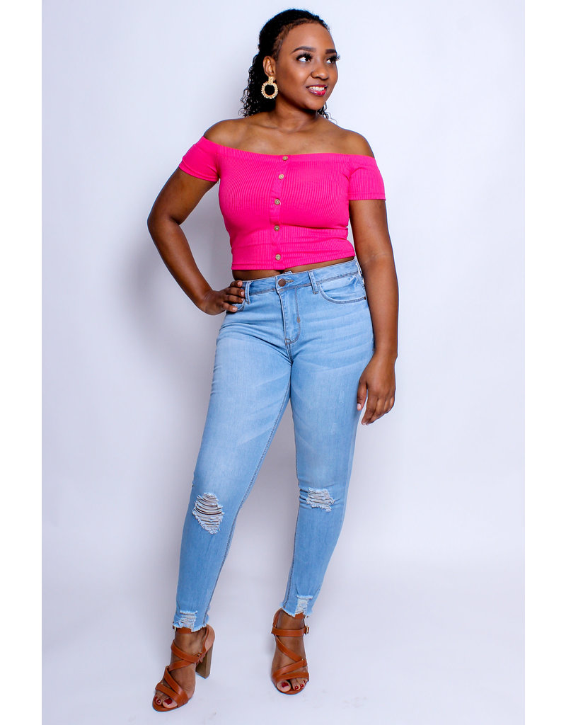 Buttoned Basic Cropped Top - Fuchsia