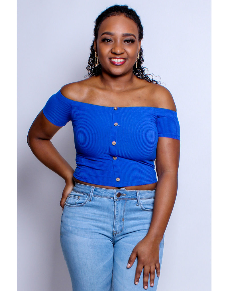 Buttoned Basic Cropped Top - Royal Blue