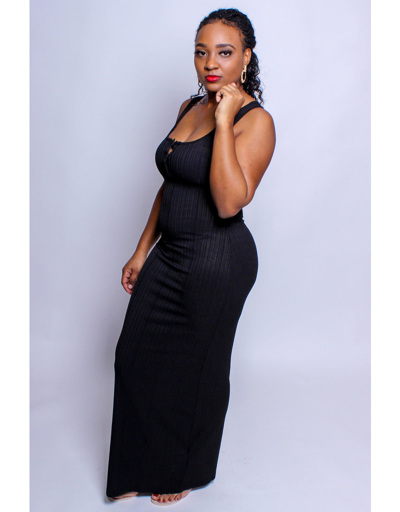Take Me Anywhere Ribbed Maxi Dress - BLACK