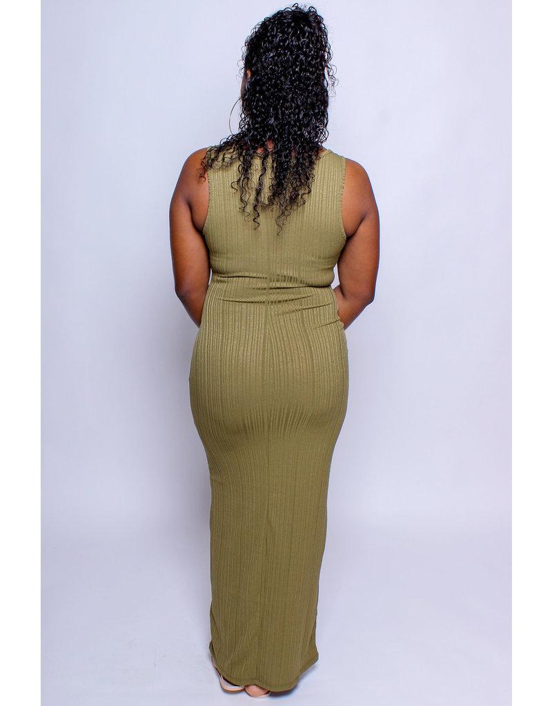Take Me Anywhere Ribbed Maxi Dress - OLIVE
