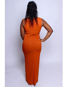 Take Me Anywhere Ribbed Maxi Dress - RUST