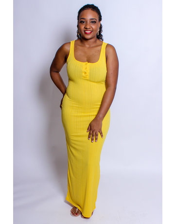 Take Me Anywhere Ribbed Maxi Dress - YELLOW