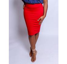 No Fuss Midi Skirt Red