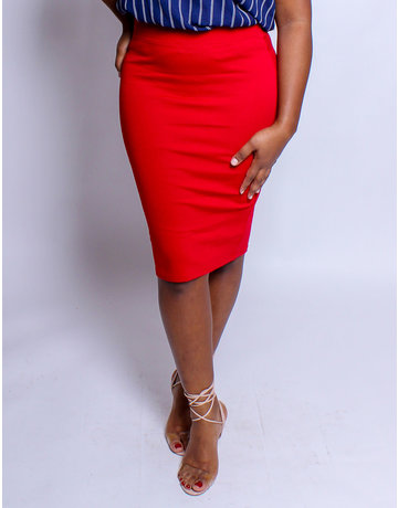 No Fuss Midi Skirt Red