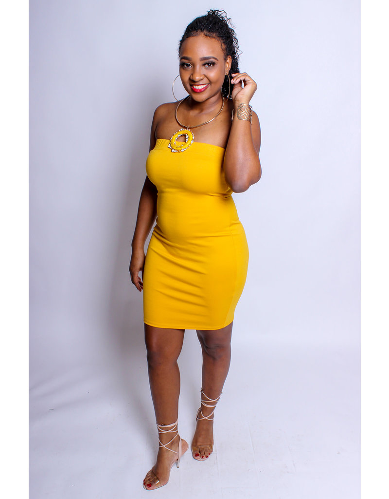Living In Color Tube Dress - MUSTARD