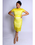 Wishes Come True Lace Dress Yellow
