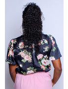 Floral Fantasy Wrap Bodysuit - BLACK