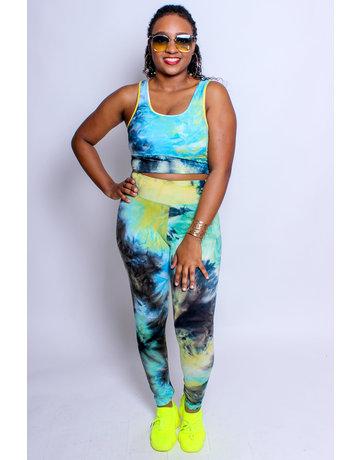 Trendsetter Tie Dye Bra & Leggings Set - Green