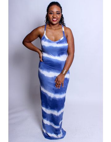Weekend Vibes Tie-Dye Maxi Dress - Blue