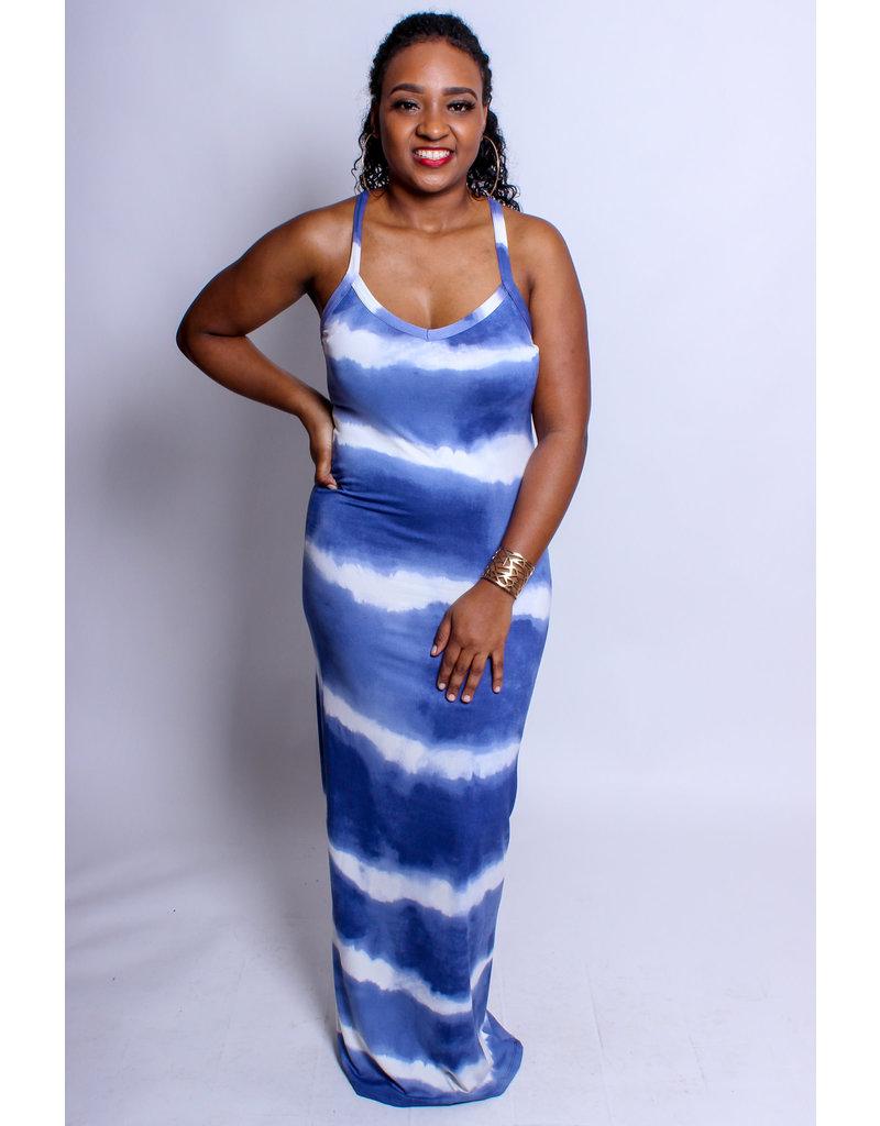 Weekend Vibes Tie-Dye Maxi Dress - Blue