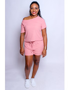 Easy Going Ribbed Shorts Set - Mauve