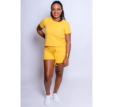 Easy Going Ribbed Shorts Set - Mustard