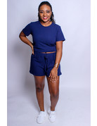Easy Going Ribbed Shorts Set - Navy