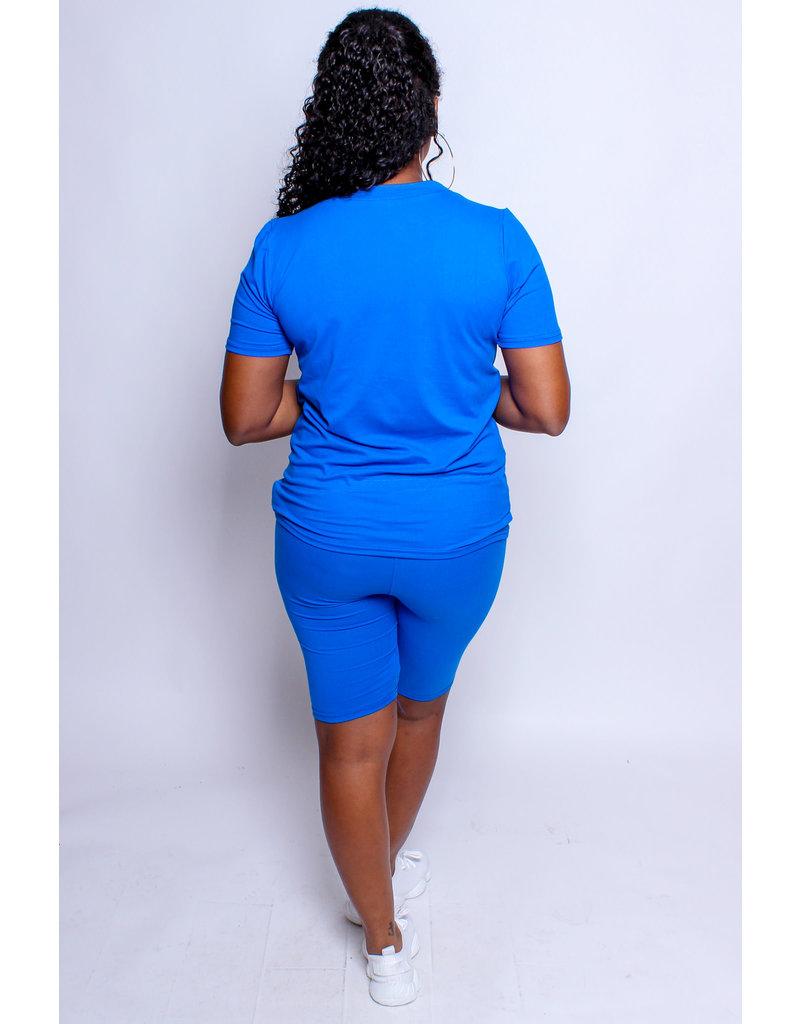 Let's Kick It Biker Short Set - Royal Blue