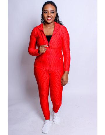 Active Lifestyle Hoodie & Leggings Set - Red