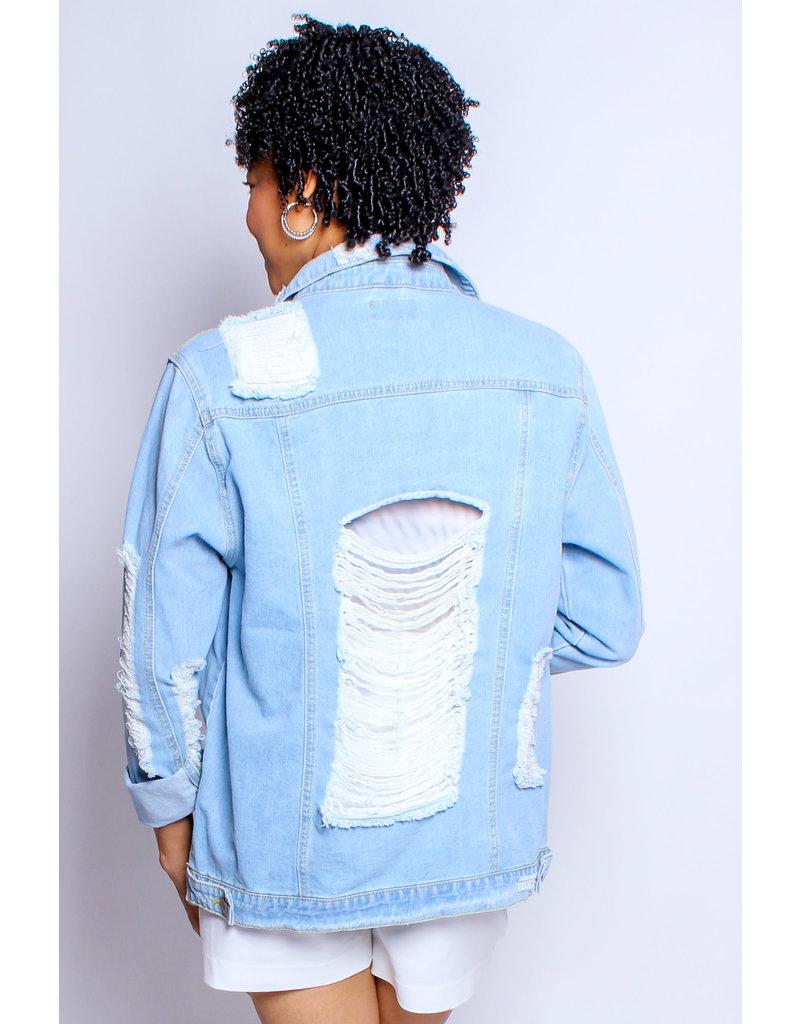 No Stress Distressed Denim Jacket