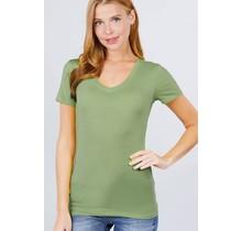 Avocado Green V Neck T-Shirt