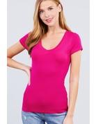Spring Hot Pink V Neck T-Shirt