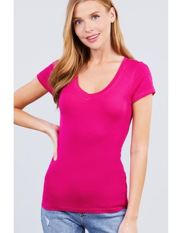 Spring Hot Pink V Neck T-Shirt