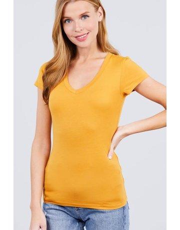 Mustard V Neck T-Shirt