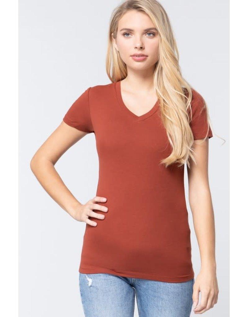 Dark Rust V Neck T-Shirt