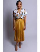 Pretty In Pleats Skirt - GOLD/MUSTARD