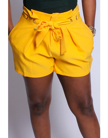 In My Bag Paperbag Shorts - YELLOW