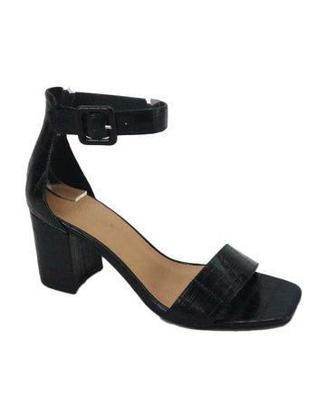 Wherever I Go Block Heels - Black Croc