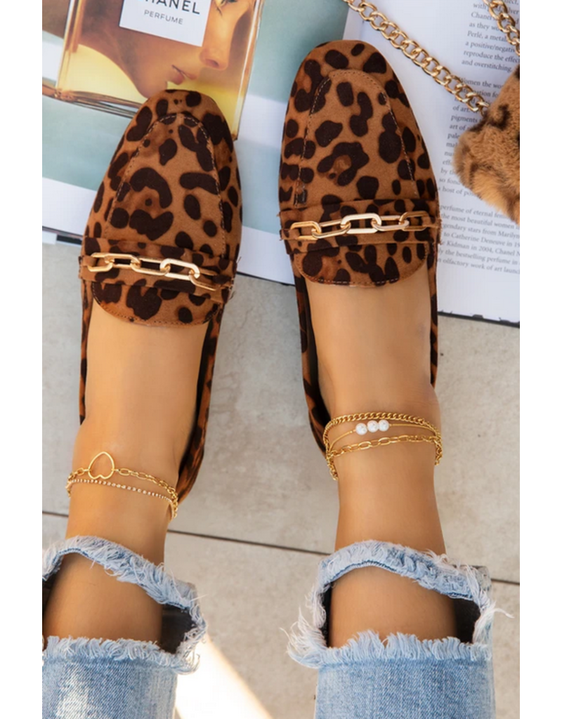 On The Clock Loafer Flats - Leopard