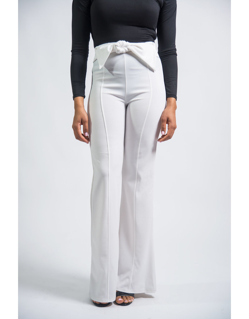 Made For Me Bow Pants White