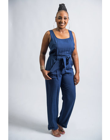 Take Care Belted Jumpsuit - NAVY