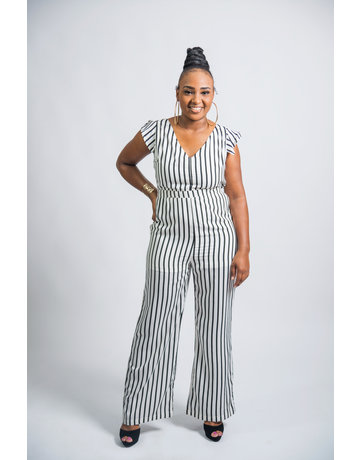 One More Chance Striped Jumpsuit