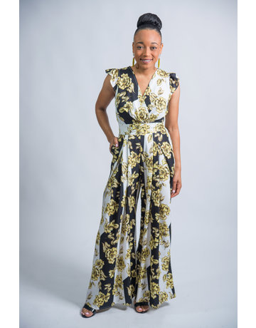 Summer Time Fun Floral Jumpsuit Black