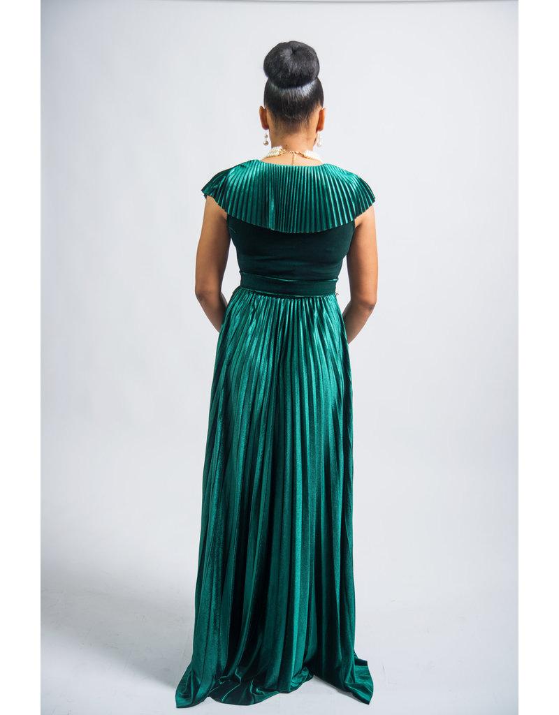 Fame & Fortune Velvet Maxi Dress Hunter Green