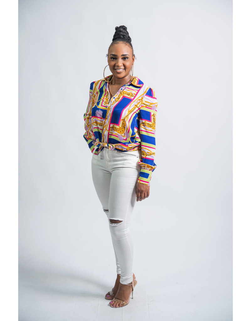 The Colorful Life  Button Up Top