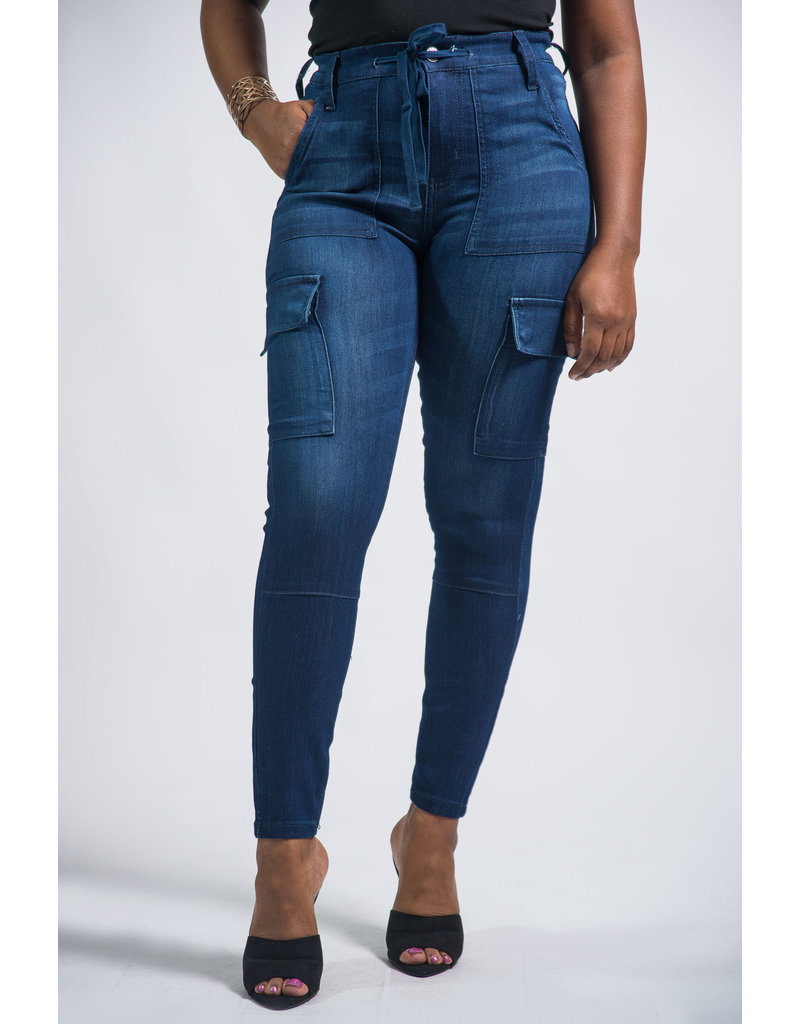 Stormy Night High Rise Cargo Skinny Jeans