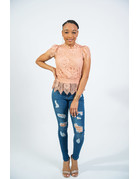 She's So Lovely Lace Mock Neck Top - Dark Nude