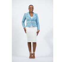 Handling Business Polka Dot Belted Blazer - Blue