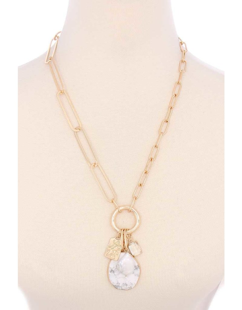 Best Kept Stone Necklace - White Marble